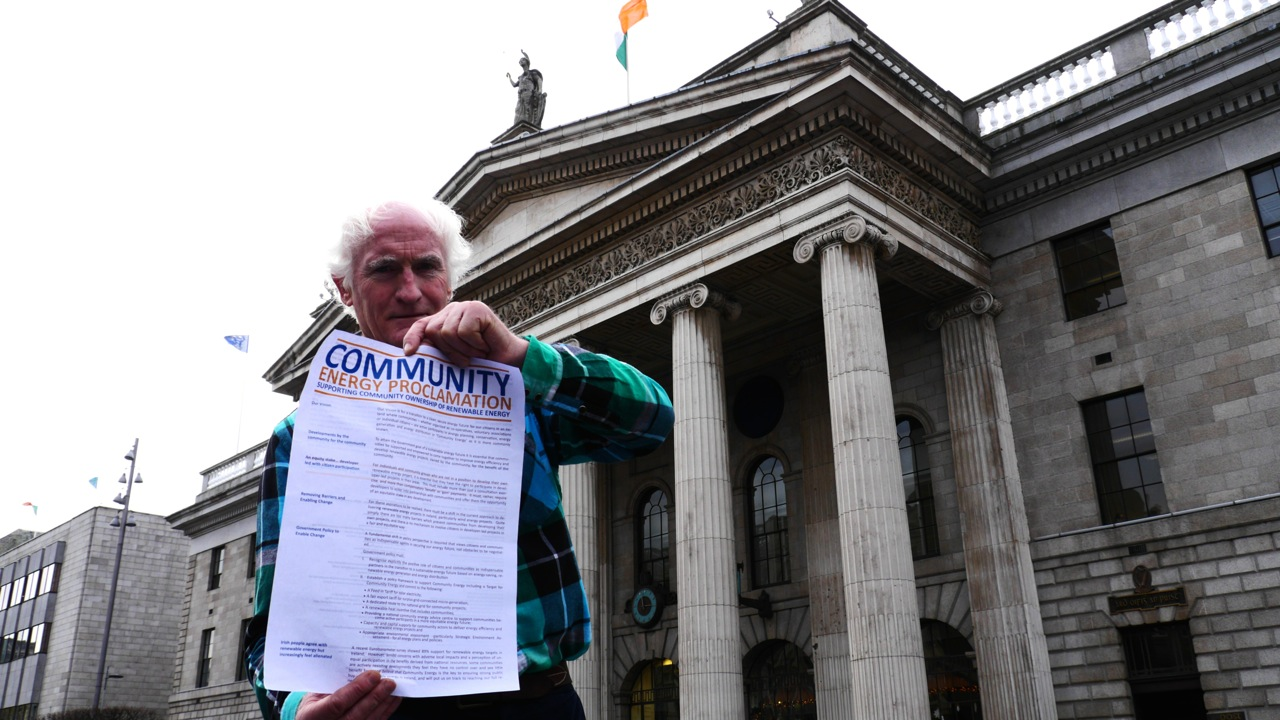 Duncan Stewart with Energy Proclomation outside GPO