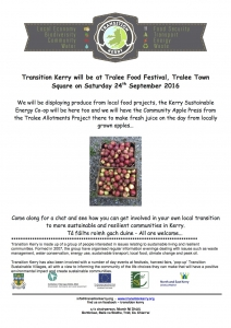 Transition Kerry will be at Tralee Town Square as part of Tralee Food Festival 24th September